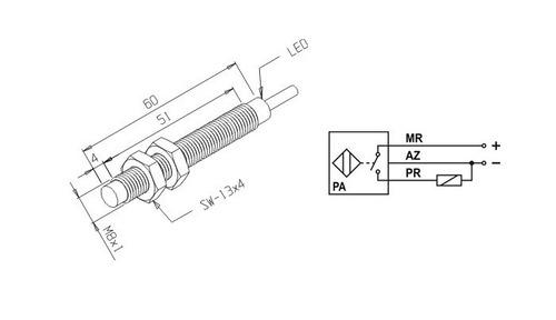 sensor indutivo ref.in-2,2m-8sa-pf/xl,distância de 2,2mm/8ø