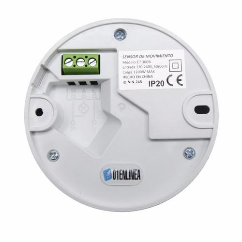 sensor movimiento detector techo baño 360 infrarrojo aplicar