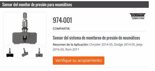 sensor presión neumáticos  dodge 2014-05, jeep 2016-05