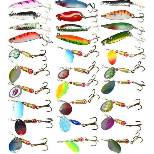 señuelo cuchara combo profesional de pesca 8 piezas