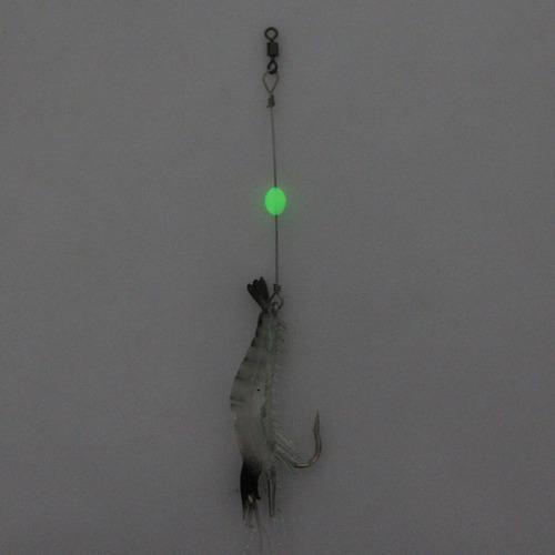 señuelo pesca luminosa camaron forma cebo artificial gancho