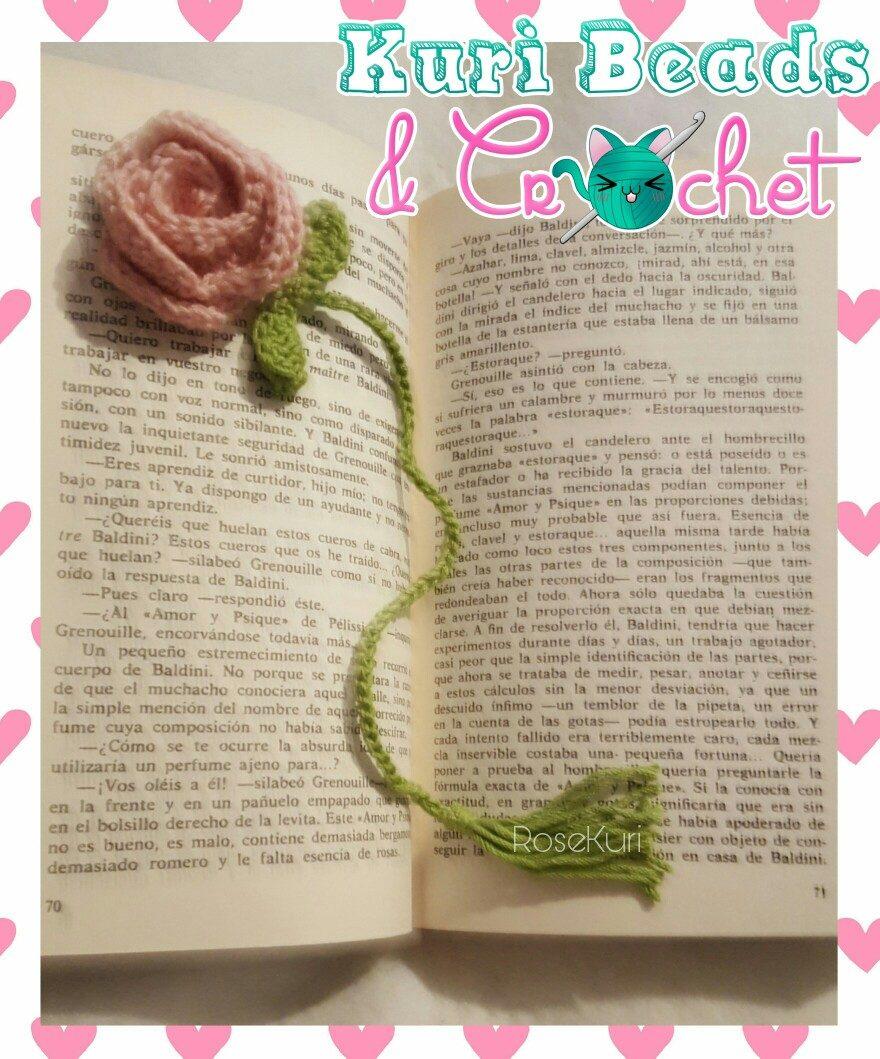 Separador De Libro Tejido A Crochet: Rosa - $ 30.00 en Mercado Libre