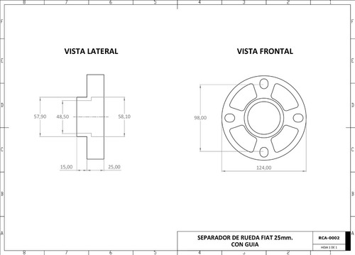 separadores de rueda fiat 128 147 25 mm guia collino x 2 un.