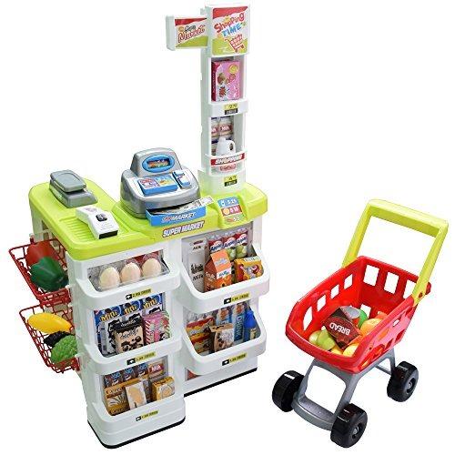 9a4e1c54b937 Seprovider Kids Supermarket Playset Con Toy Shopping Cart