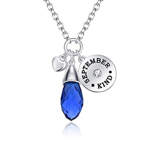 septiembre piedra del collar de zafiro de cristal swarovski