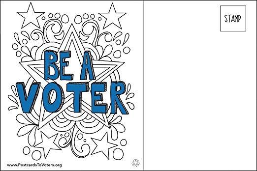 Ser Un Votante Postales (diseño Para Colorear Estrellas), Aj ...