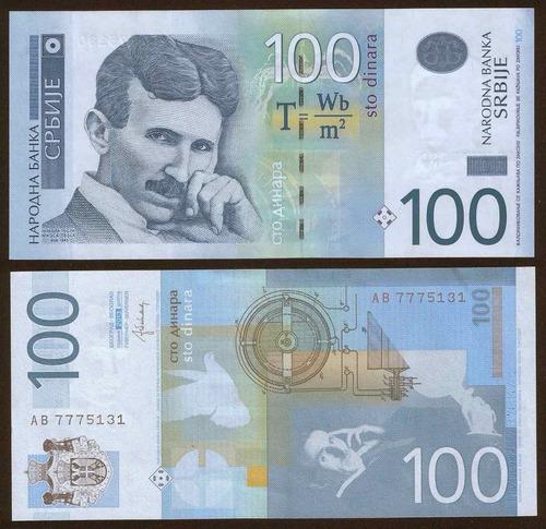 serbia 100 dinares 2013 sin circular - nikola tesla -
