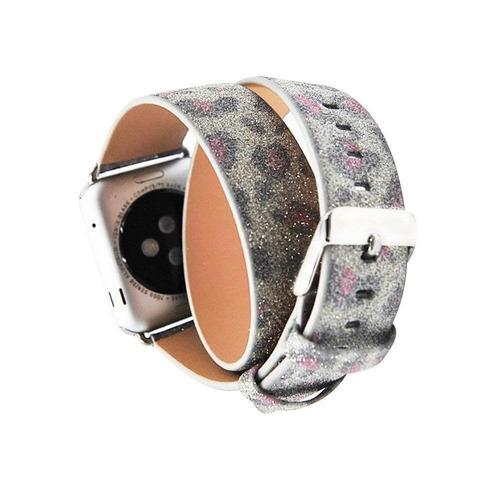 serie 2 serie 1 reloj banda , kutoo doble gira cuero glitter