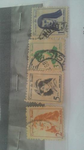 série 4 selos brasileiros raros, personalidades femininas