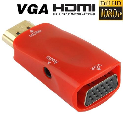 serie adaptador full hd 1080p vga audio para monitor azul