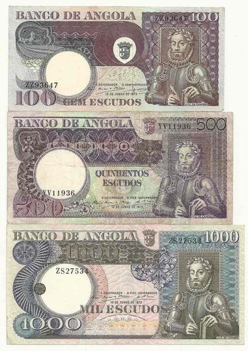 série com 3 cédulas angola (100, 500 e 1000 escudos) camões