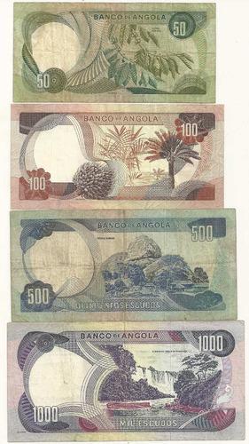 série com 4 cédulas angola (50, 100, 500 e 1000 escudos)