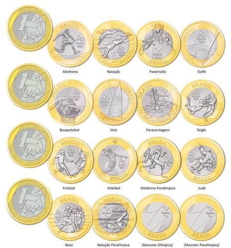 serie completa 16 moedas das olimpiadas flor de cunho novas