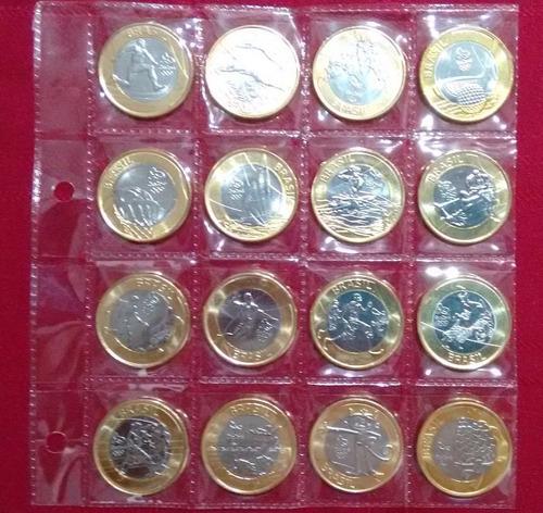 série completa 16 moedas olimpíadas rio2016  * flor de cunho