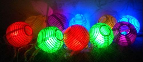 serie de 10 luces navideñas led con mini farolitos redondos