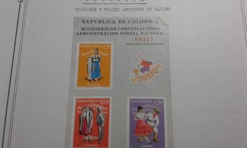 serie de 3 sellos y 1 bloque trajes /bailes de colombia