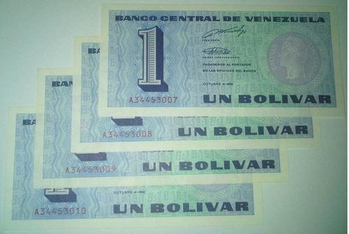 serie de 4 billetes bs. 1 05/10/1989 xf