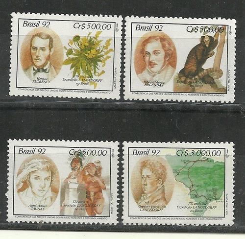 serie de 4 estampillas brasil año 1992 expedicion fauna