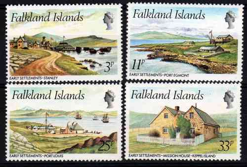 serie de 4 estampillas de malvinas vistas diversas año 1980