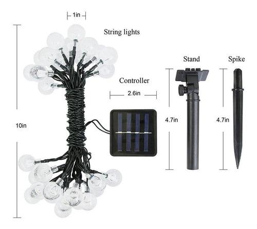 serie de luces led solar 6.5m 30esferas acrílico impermeable