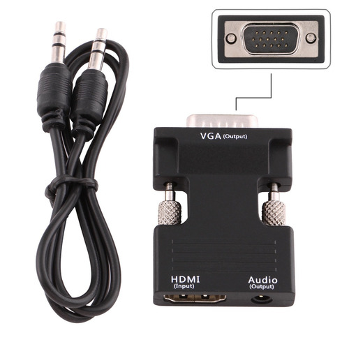 serie hdmi convertidor hembra vga adaptador audio negro