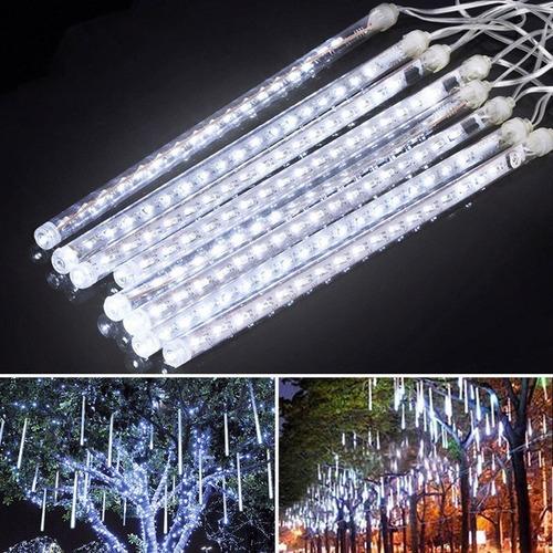 serie navideña led 8 tubos 30cm lluvia meteoro 144 luces