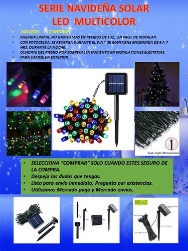 serie navideña solar 100 led multicolor 12 mts exterior