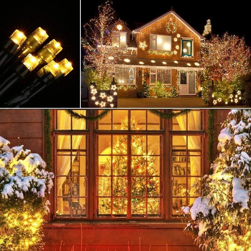serie navideña solar 200 led 22m blanco cálido envío gratis