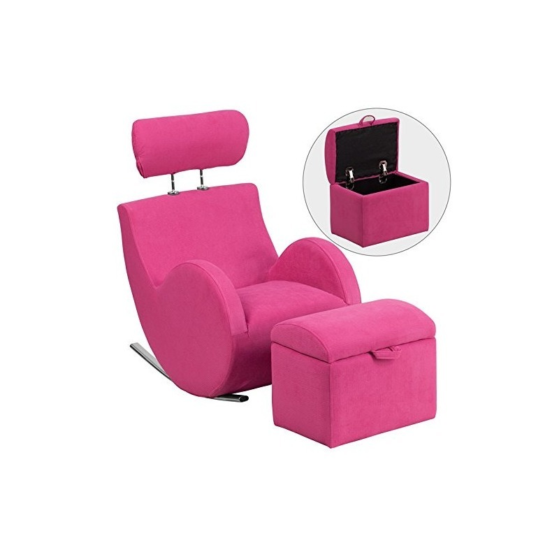 Serie Pink Fabric Rocking Chair Con Otomana De Almacenamient ...