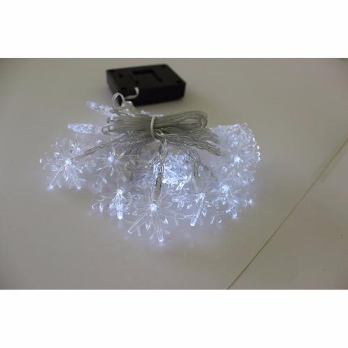 serie solar navideña 20 led luz blanca con fotocelda copos