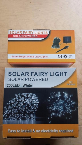 serie solar navideña 200 led luz blanca con fotocelda 20 mts