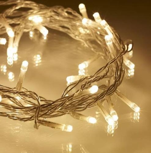 series luces led 50 mts decoración ámbar  luz cálida fiestas