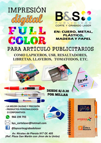 serigrafia digital, impresion full color, usb, lapiceros,