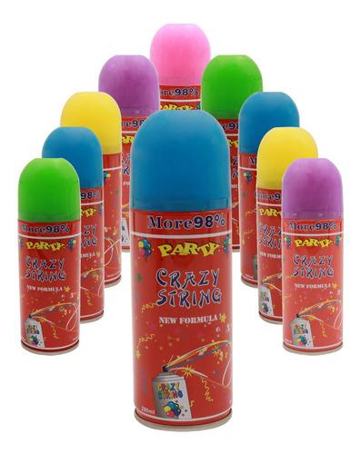 serpentina de cotillón en spray x 10 unidades