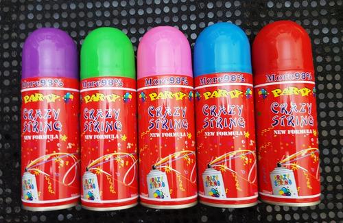 serpentina loca en aerosol. serpentina en spray xa cotillón.