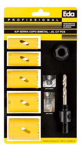 serra copo bimetal para madeira e metal 7 peças 19 a 35mm