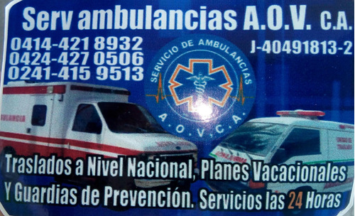 serv. ambulancias a.o.v,, c.a.