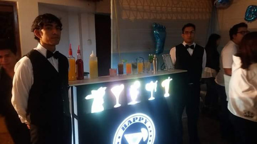 serv. barra movil iluminada - barman - bartender  - open bar