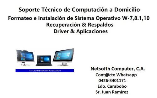 serv. técnico computadora formateo pc laptop a domicilio