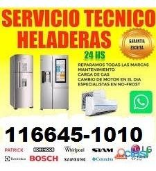 service heladeras familiares comerciales carga gas técnico