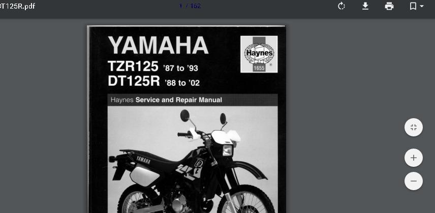 yamaha dt125 dt125r 1987 1988 service manual pdf