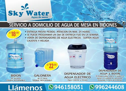 servicio a domicilio de agua de mesa en bidones 20lt
