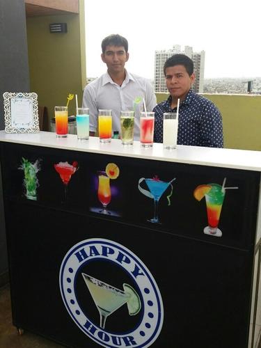 servicio barra movil iluminada - barman - open bar domicilio