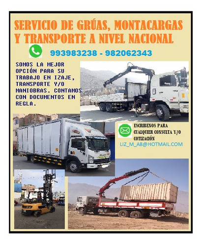 servicio de alquiler y transporte de gruas y camiones