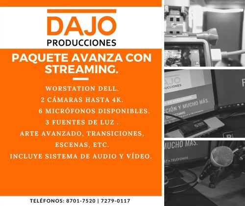 servicio de audio, vídeo, fotografía, postproducción.