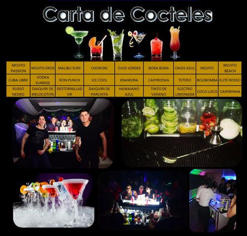 servicio de barra móvil led, coctelería, bartenders, eventos