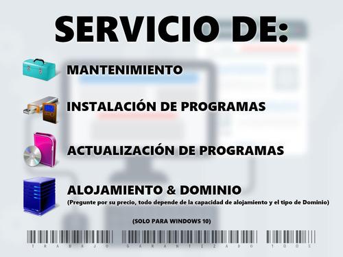 servicio de instalación de programas y mantenimiento