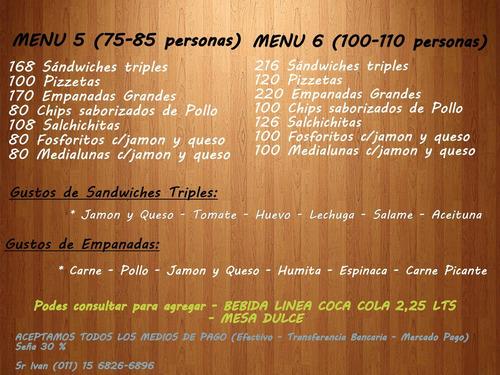 servicio de lunch-catering, con bebidas , envío sin cargo!!