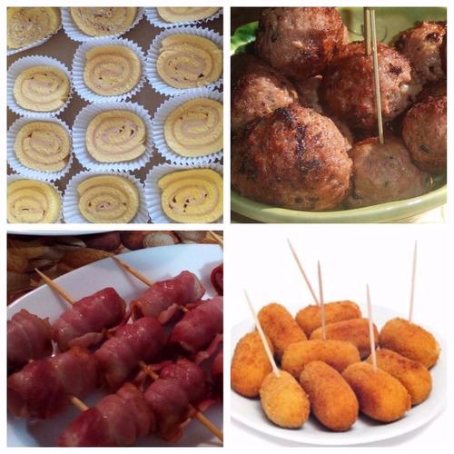 servicio de lunch para eventos: bocaditos salados y dulces.