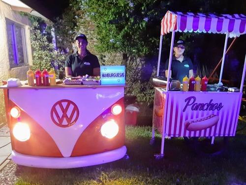 servicio de panchos y hamburguesas para  fiestas y eventos